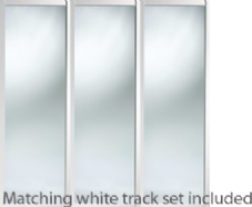Shaker Style White Frame Mirror Door & Track Set to suit an opening width of 2235mm